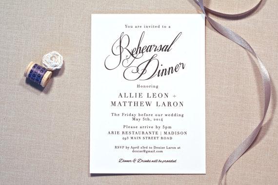 rehearsal dinner invitation printable invites black and white