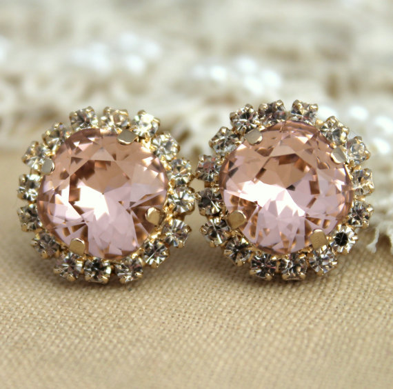 Wedding - Pink Blush earrings Blush Pink Stud Earrings French Pink Bridal earrings 14k 1 micron Thick plated gold or Silver light pink swarovski Studs