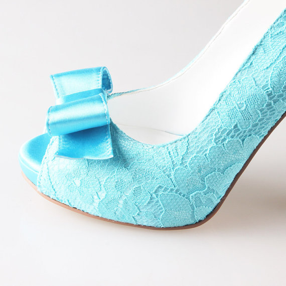 Wedding - Turquoise aqua lace bow shoes wedding party shoes -  peep toe open toe heels pumps green blue heels - other colors are available too