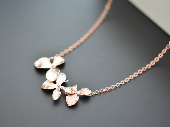 Свадьба - SALE, Orchid flower necklace, Rose gold necklace, Bridal necklace, Bridesmaid, Anniversary, Christmas gift, Mother's Day Gift, Birthday gift