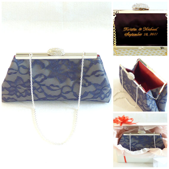 Wedding - Bridesmaid Gift Clutch, Steel Grey, Navy Blue And Red Bordeaux Bridal Clutch, Wedding Clutch, Mother Of The Bride Gift, Bridal Shower Gift