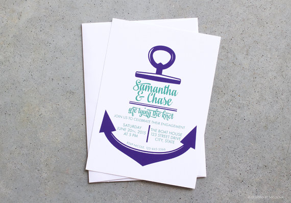 invitations, nautical invitations, tying the knot, invites, anchor, Wedding invitations
