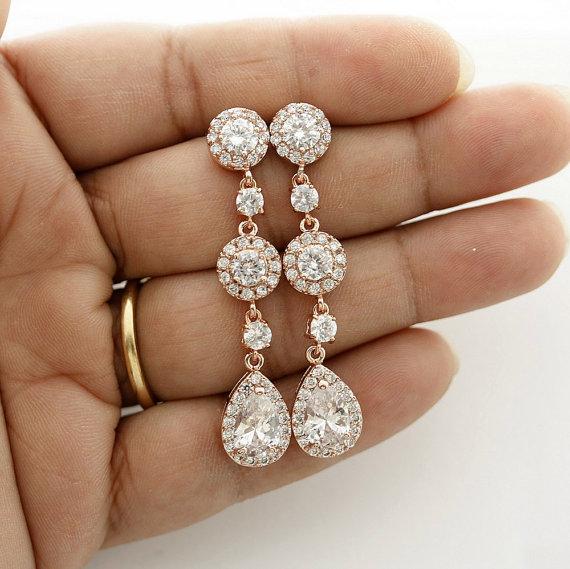 زفاف - ROSE GOLD Earrings Long Crystal Wedding Earrings Wedding Jewelry Rose Gold Bridal Jewelry