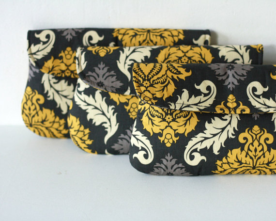 Mariage - Set of 3 - Wedding Clutch/ Bridesmaid Gift Damask in yellow and gray