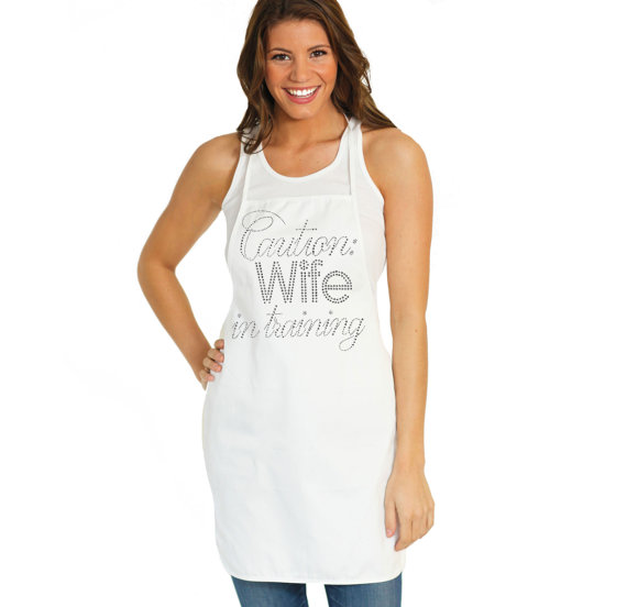 brides apron caution wife in training rhinestone apron bridal shower gift newlywed gift bachelorette gift