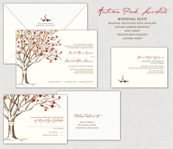 Wedding - Autumn Park Lovebirds Wedding Invitation Invitations Invites Invite Birds Tree Fall Love Bird Burnt Orange Terra Cotta Gold Red