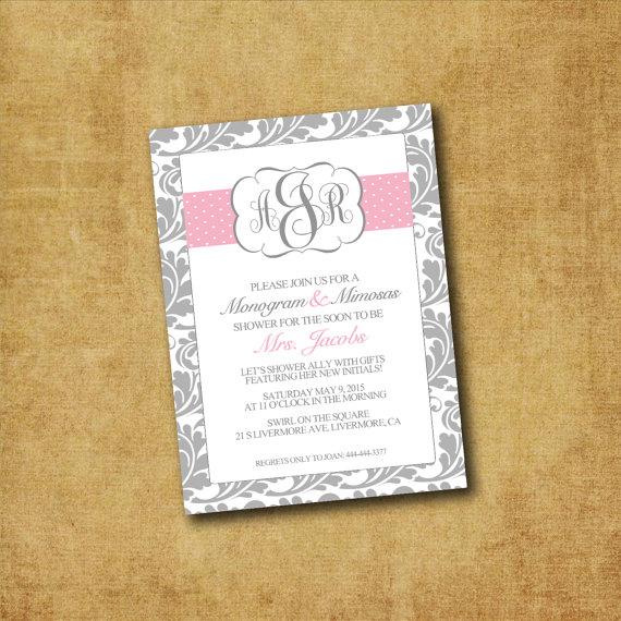 Wedding - Printable Monogram & Mimosas Invitations - Custom Monogram Invitation - Bridal Shower, Bridal Brunch, Wedding Shower, ANY EVENT