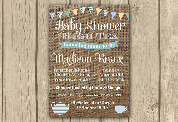 Baby Shower High Tea Invitation, PRINTABLE, Baby Shower Tea Party Invite, Burlap Bunting, Baby ...