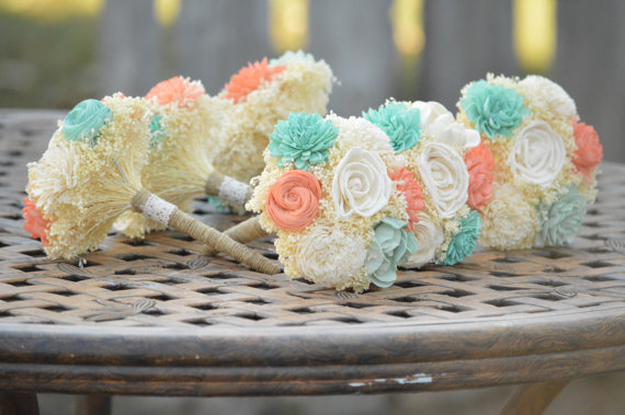 Wedding - Small Wedding Bouquet Ivory Mint Coral Sola Flowers and dried Flowers Bridesmaid Keepsake