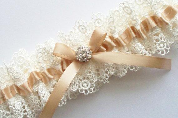 Hochzeit - Champagne Wedding Garter  - The ALLIE Garter