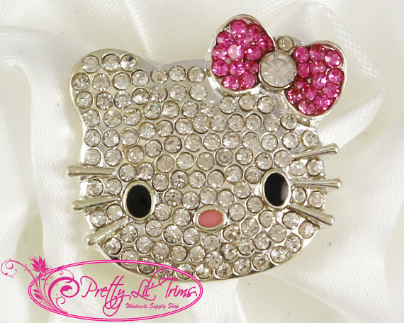 Mariage - Pink Hello Kitty Rhinestone Embellishment, 1 Piece, 25 x 23 mm, Hello Kitty Charm, Hello Kitty Bow, Hello Kitty Jewlery, Hello Kitty Center