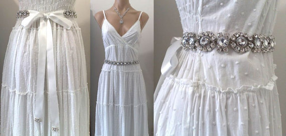 Hochzeit - Geometric Dress Jewelry, Statement Bridal Sash, Art Deco Belt, Summer Wedding, Silver or Gold, MIRANDA
