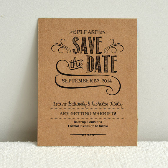 Wedding - DIY Kraft Paper Wedding Save-the-Date - Handlettered Rustic Love - Printable PDF Template - Instant Download