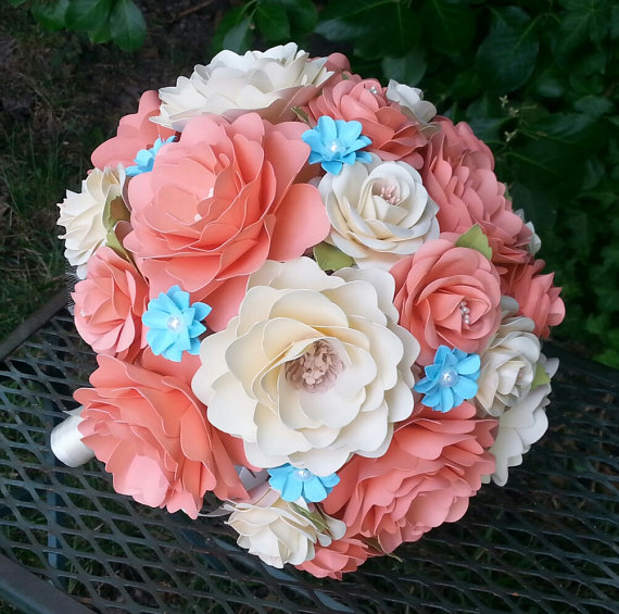 Hochzeit - Paper Flower Wedding Bouquet - Coral and Ivory - Splash of Blue - Custom Made - Any Color