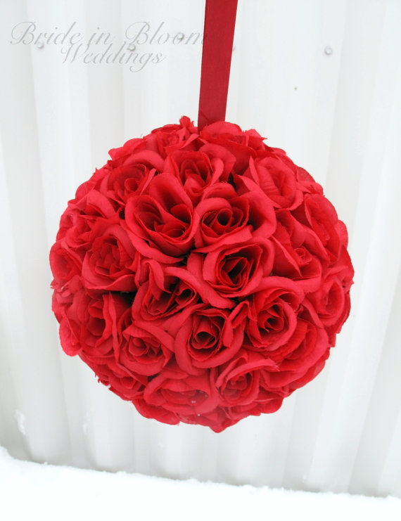 Red pomander kissing ball flower girl rose floral