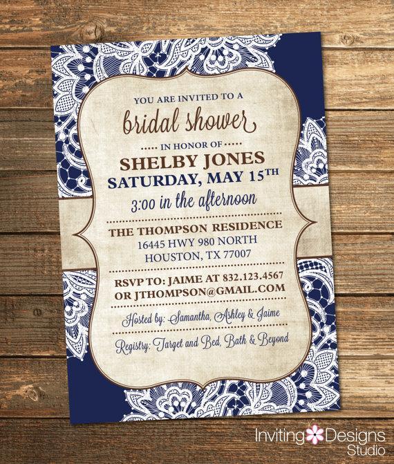 Wedding - Bridal Shower Invitation, Burlap, Lace, Navy Blue, Navy, Brown, Rustic, Chic, Vintage (PRINTABLE FILE)