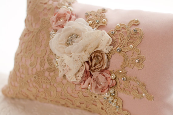 Wedding Ring Pillow Vintage Style Lace Bearer Blush Dusty Pink Champagne Flower