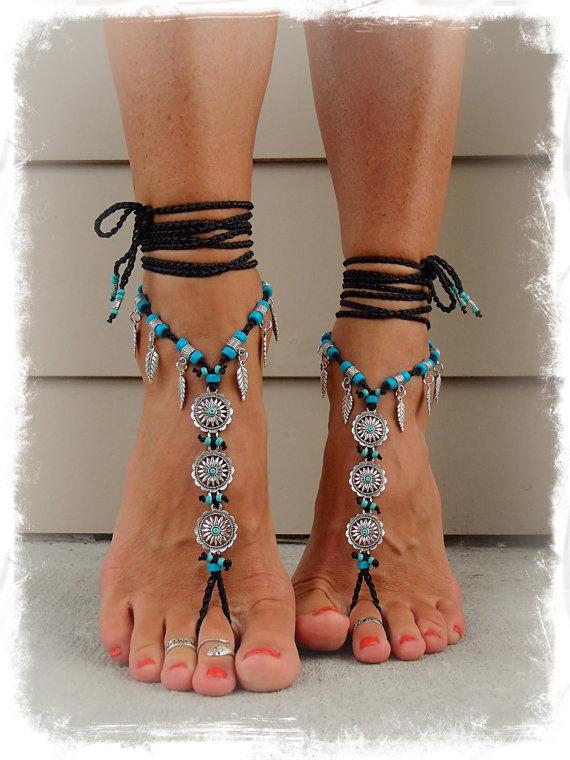 For Jane Black Daisy Barefoot Bohemian Wedding Barefoot