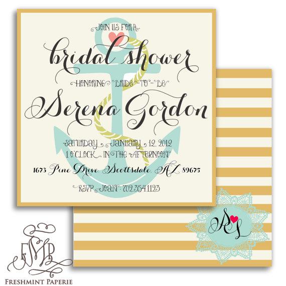 Wedding - Printable invitations - nautical invitations - Doily - calligraphy - bridal shower invitations - anchor - lighthouse