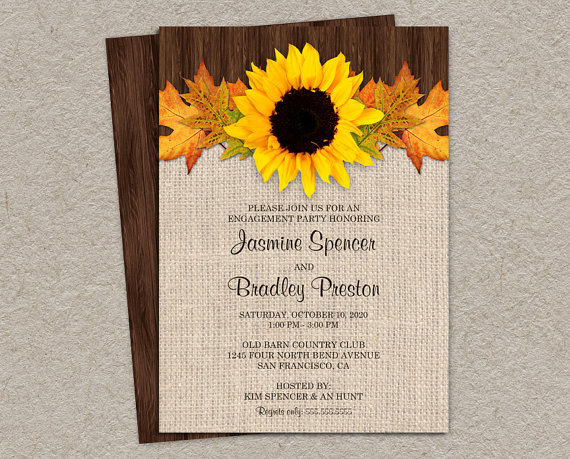 Wedding - Fall Engagement Party Invitation With Sunflower And Leaves, DIY Printable Sunflower Invitations, Rustic Engagement Invitation Cards