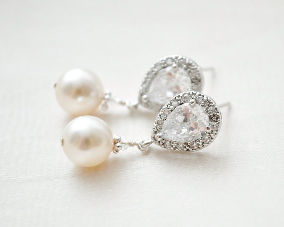 Wedding - Bridal Earrings, Drop Pearl Earrings, Ivory Pearl Earrings, Wedding Earrings, Bridal Jewelry