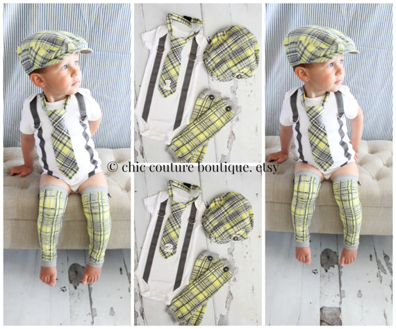 3b82e474 Baby Boy 1st or 2nd Birthday Outfit Complete set of 4 Items. Gray Yellow  Arayle Plaid Tie w Number 1 or 2, Button Leg Warmers, & Newsboy Hat