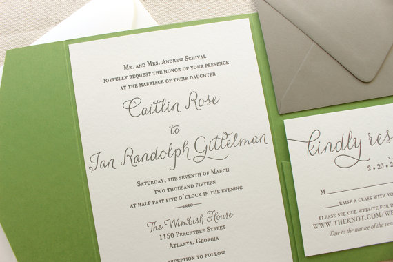 Mariage - The Rosemary Suite - Modern Letterpress Wedding Invitation Suite, Green, Black, Grey, Liner, Calligraphy, Script, Swirls, Simple, Classic