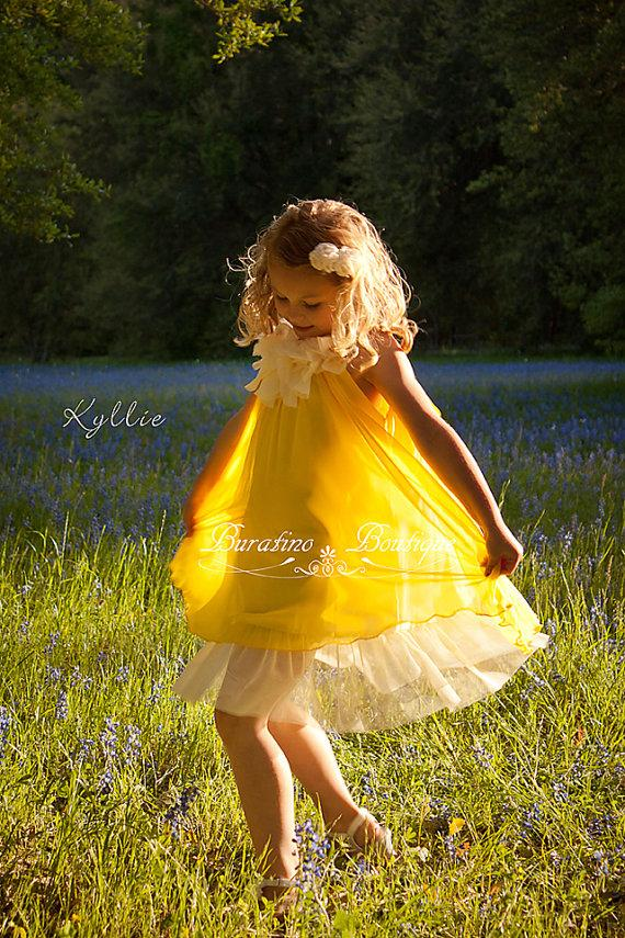 Свадьба - Flower Girl dress, special occasion chiffon girls dress red yelloy turquoise coral toddler girls dresses (ets0150ylw)