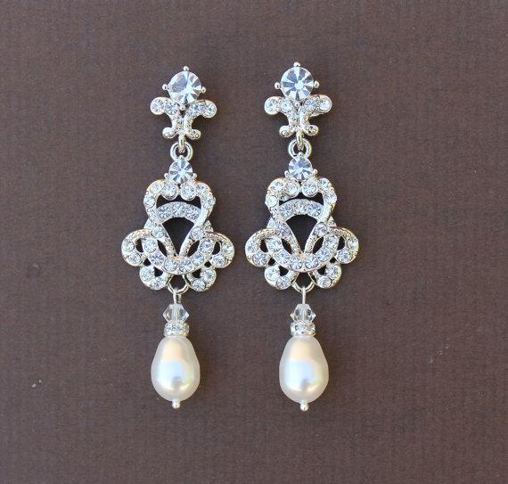 Pearl Bridal Chandelier Earrings Deco Jewelry Ivory Drop Crystal Wedding Celine Pear