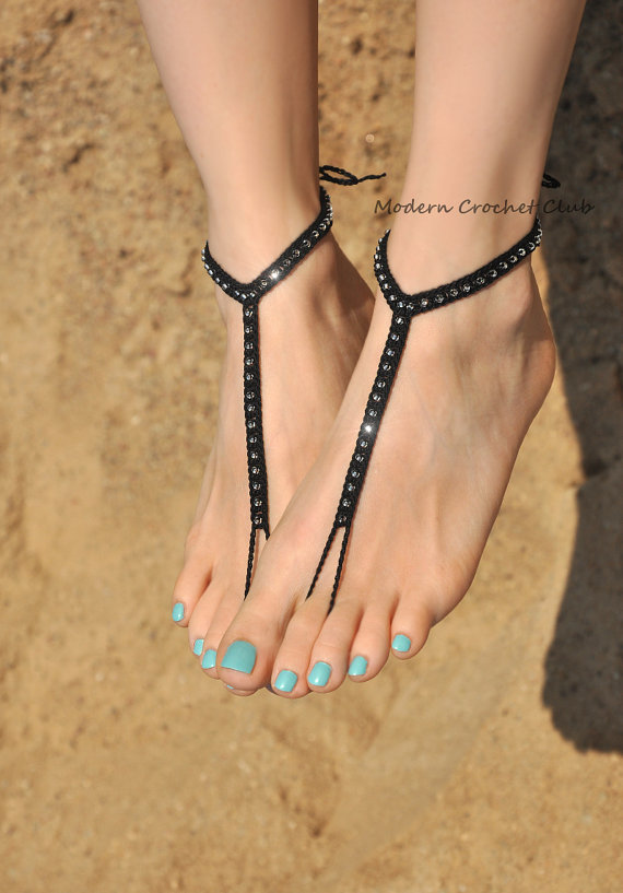 Wedding - Simple Shiny Barefoot Sandals in black,beach wedding accessories,goth foot jewelry,nude shoes,bridesmaids gift,beach shoes,barefoot sandles