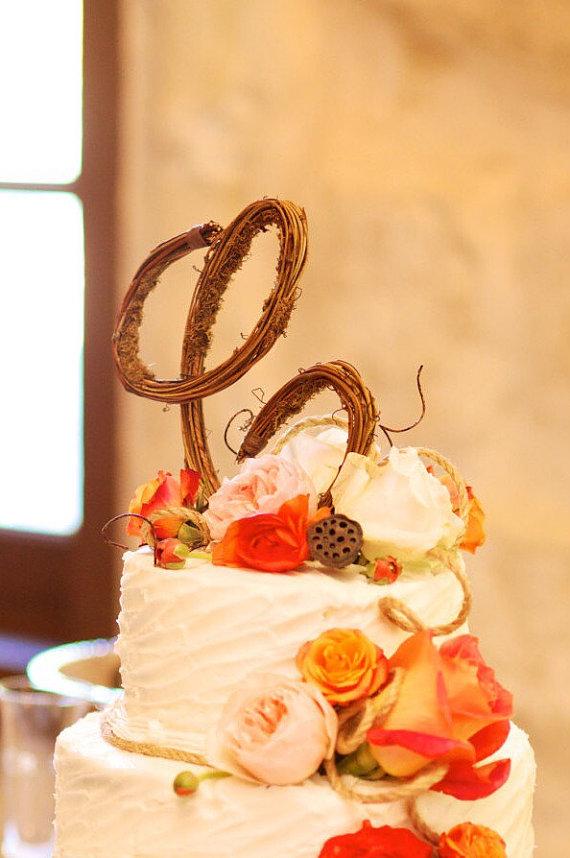 Letter C Rustic Twig Monogram Letter Wedding Cake Topper