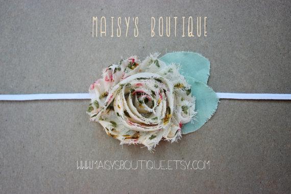 زفاف - 75% Off Ivory Vintage Print Shabby Flower Headband/ Newborn Headband/ Baby Headband/ Flower Girl/ Wedding/ Photo Prop