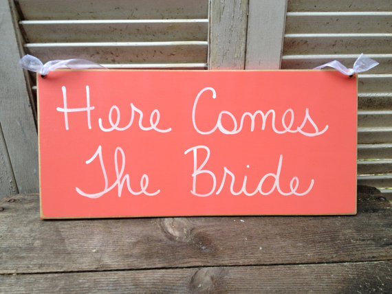 Wedding - Coral and White Here Comes The Bride Wedding Sign, Wooden Coral Wedding Signage