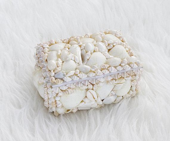 زفاف - Beach Seashell Ring Bearer Wedding Pillow Box - Shabby Chic - Craft, Gift Souvenir Shell Box