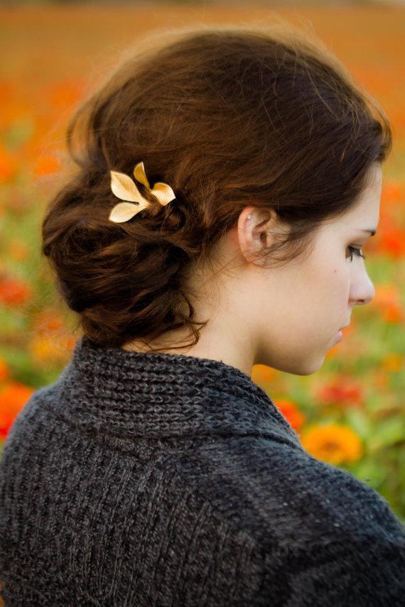 زفاف - Gold Rose Leaf Hair Pins Rose Leaf Bobby Pins Pretty Woodland Hair Accessory Gold Leaf Hair Clip
