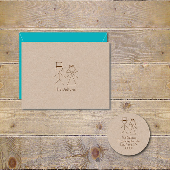 Wedding - Stick Figure Wedding Thank You Cards, Stick Figure Cards, Stick Figures, Bridal Shower Cards,  Rustic Wedding, Recycled, Bride & Groom