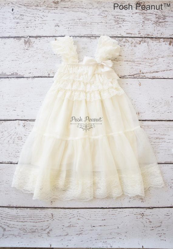 Mariage - lace flower girl dress -girls ivory dress -rustic dress-  baby ivory dress -Baptism dress - babydoll dress- tutu dress - flower girl dresses