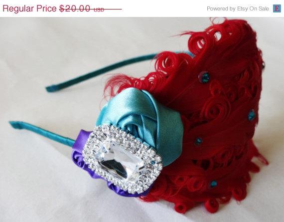 زفاف - ON SALE Ariel Headband - Ariel Bows - Red Teal Purple - Feather Hair Piece - Princess Headband - Adult Headband - Ariel Cosplay - Mermaid Bi