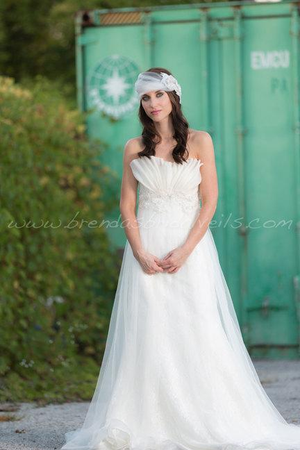 زفاف - Bridal Veil Set, Tulle Head Wrap with Tremeka Rhinestone and Pearl Headpiece, Wedding Veil, Bohemian Headband