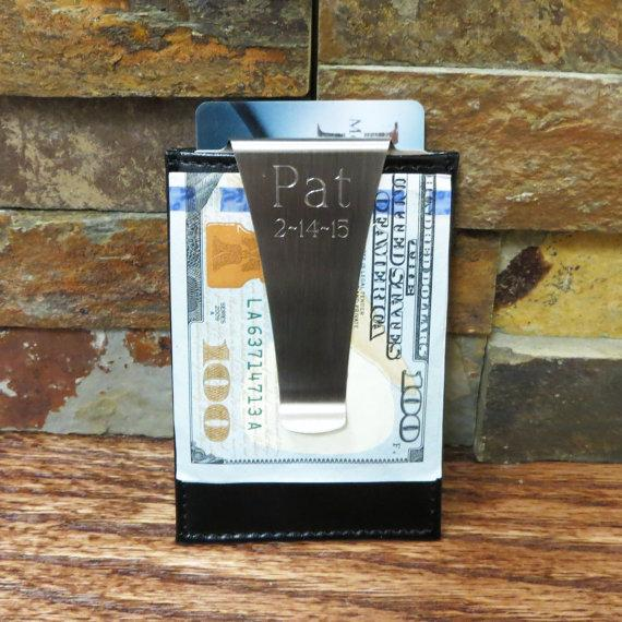Свадьба - Leather Money Clip and Card Holder - Wallet - Personalized -Groomsmen Gifts - Corporate Gifts -(210)