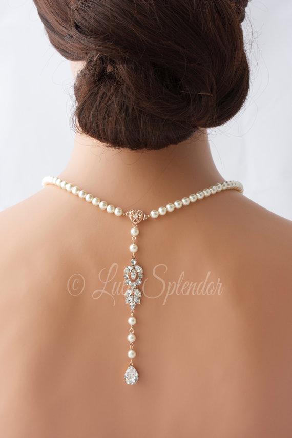 Свадьба - Backdrop Bridal Necklace Rose Gold Pearl Wedding Necklace Delicate Back Drop Swarovski Crystal Wedding Jewelry AMELIA