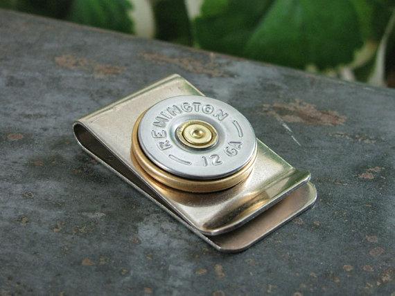 Свадьба - Shotgun Casing Jewelry - Bullet Jewelry - Silver Remington 12 Gauge Money Clip - Gift for Man / Groomsmen Gifts