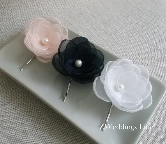 Свадьба - Navy Blue Coral Pink White Organza fabric Flowers handmade Bridal hair bobby pin clip grip bridesmaids Shoe sash Dress Ornament Gift Pearl