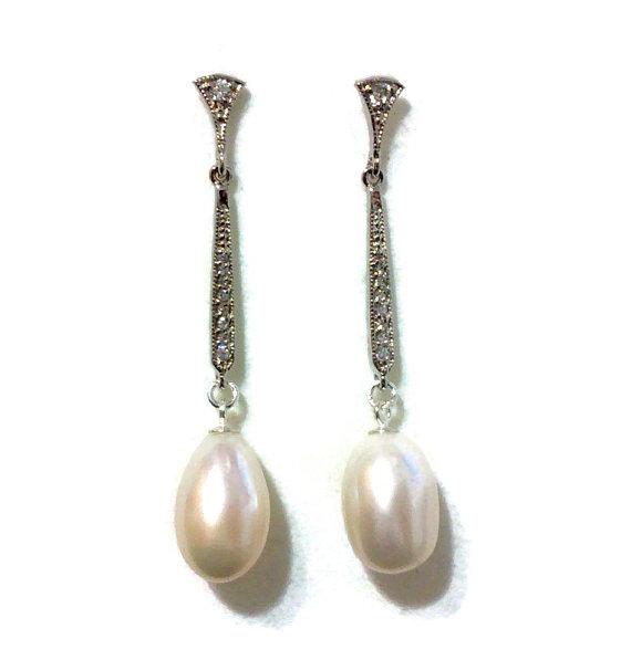 زفاف - Freshwater Pearl Bridal Earrings, Art Deco Wedding, Pave Set Jewelry, Heirloom Jewelry, Sterling Silver Posts, LUSTER