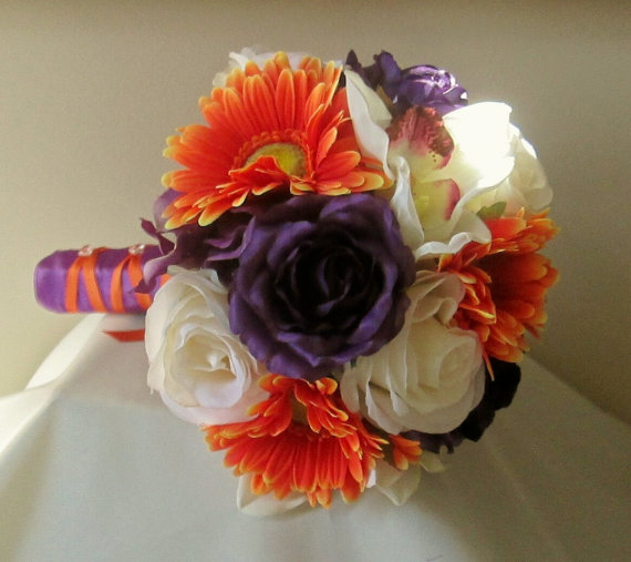 Purple And Orange Bridal Bouquet Rose Gerbera Daisy Fall Wedding Orchid Silk Flowers