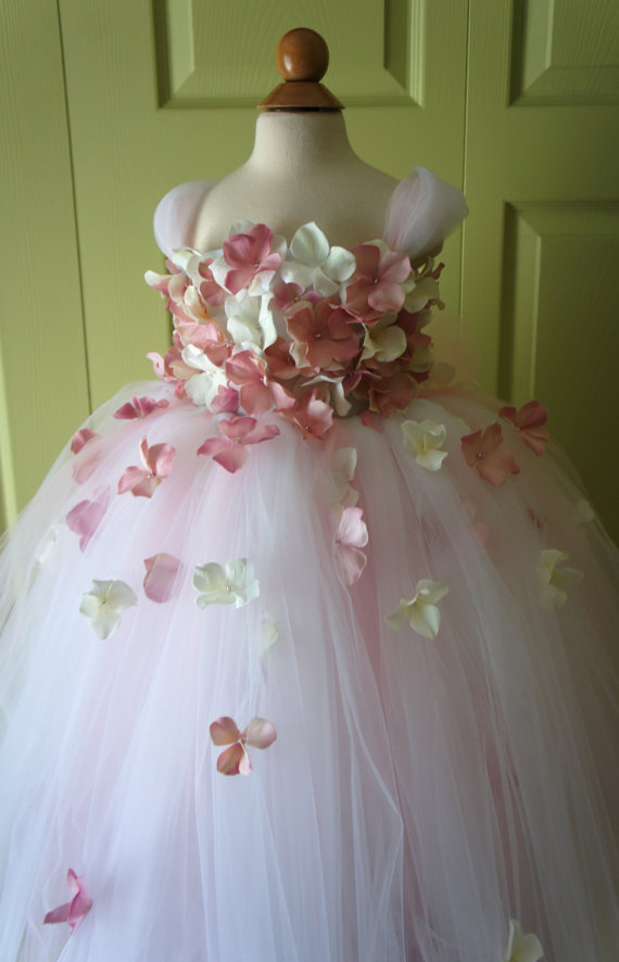 Boda - Flower Girl Dress, Tutu Dress, Blush Pink Dress, Ivory Dress, Flower Top, Photo Prop