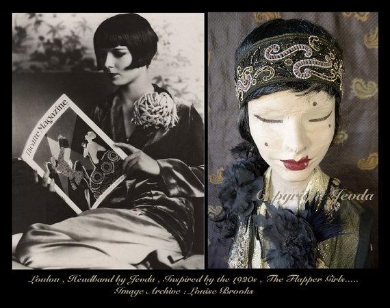 Wedding - Flapper Headband,Edwardian Headband,Embroidered Headband,Bridesmaid Headband,Fancy Headband,Burlesque Headband,Downton Abbey Headband