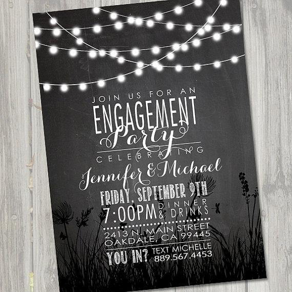 Wedding - Engagement Invitation, Engagement Invite, Engagement Dinner, Wedding Invitation, Chalkboard Invitation, Nite Lights PRINTABLE, DIY