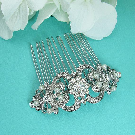 زفاف - Art Deco Pearl Wedding Comb, Rhinestone Comb, Bridal Comb pearl, Wedding Crystal Hair Comb, Hair Comb, Wedding Accessory, Bridal Headpiece