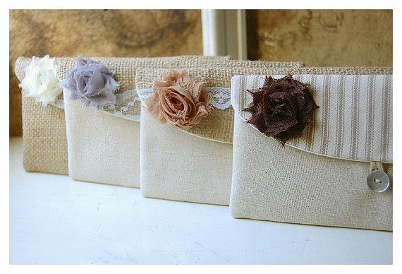 زفاف - burlap lace wedding, clutch purse, rustic wedding, set 4, bridesmaid gift, bridesmaid clutch, Personalize bag, wedding clutch, bridal clutch